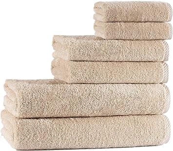 Seventex Healthy Towels, Juego de Toallas de algodón Puro orgánico Egeo, Driftwood, 2 Bath + 2 Hand + 2 Face Towels: Amazon.es: Hogar
