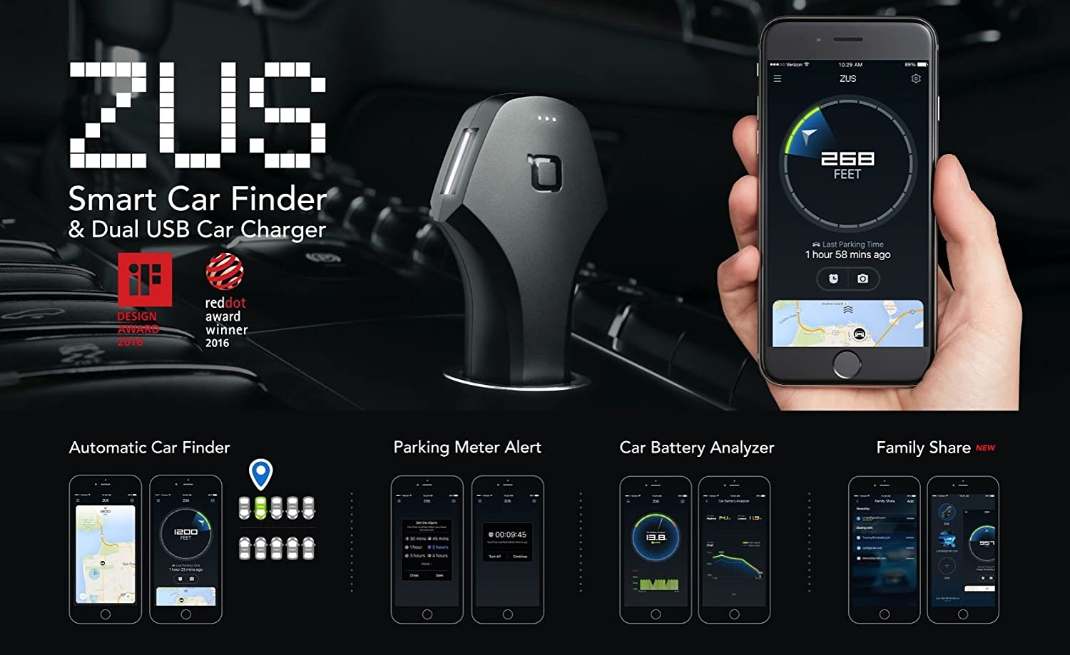Amazon com nonda zus smart car locator usb car charger 24w 4 8a 2 ports black amazon launchpad