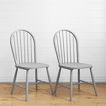 Rhode Island Pair Of Solid Wood Painted Grey Dining Chairs Amazon