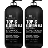 Top 6 Essential Oils Herbal Shampoo and Conditioner Set By Botanic Hearth - Sulfate & Paraben Free - Hair Growth…