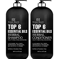 Top 6 Essential Oils Herbal Shampoo and Conditioner Set By Botanic Hearth - Sulfate...