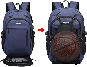 Basketball Backpack, Large Sports Bag for Men Women, with USB/Earbud Hole, Best Soccer Baseball Outdoor Gym, College School Student Backpack, Lightweight Anti-theft Backpack, Fit 17.3 Laptop (blue)
