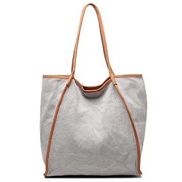 4a0cc0fa54c Amazon.com  Shopping Tote Bag for Women Extra Large Capacity Work Shouler  Travel Bag Genuine Leather   Canvas Handbag Grey  MONHINTY Direct