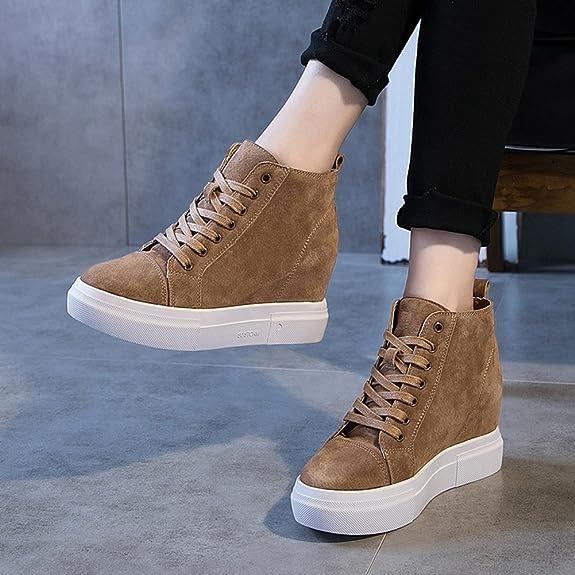 Amazon.com | GIY Womens Suede Increased Height Hidden Heel Booties - Round Toe High Top Wedge Platform Sneaker Shoes Khaki | Fashion Sneakers