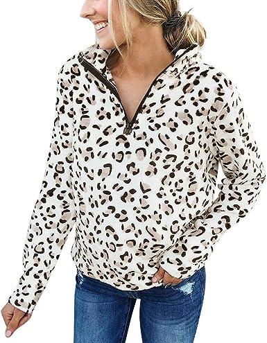 ALISIAM Moda Mujer Chándal Estampado de Leopardo Jersey Impresión ...