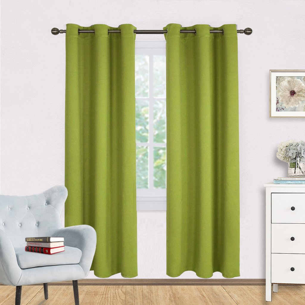 Window Drapery Panels Blackout Curtains - NICETOWN Window Treatment Thermal Insulated Solid Grommet Blackout Drapes for Bedroom (Set of 2 Panels