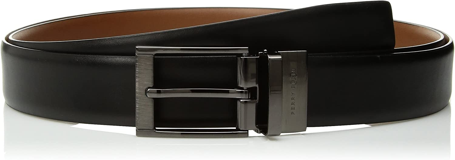 Perry Ellis Womens Big and Tall Reversible Feather Edge Leather Belt with Textured Buckle