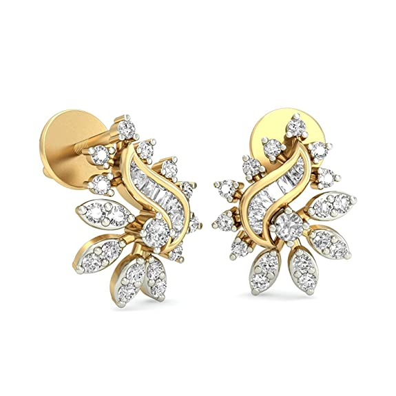 PC Jeweller The Anne-Claire 18KT Yellow Gold & Diamond Earring Women's Earrings at amazon