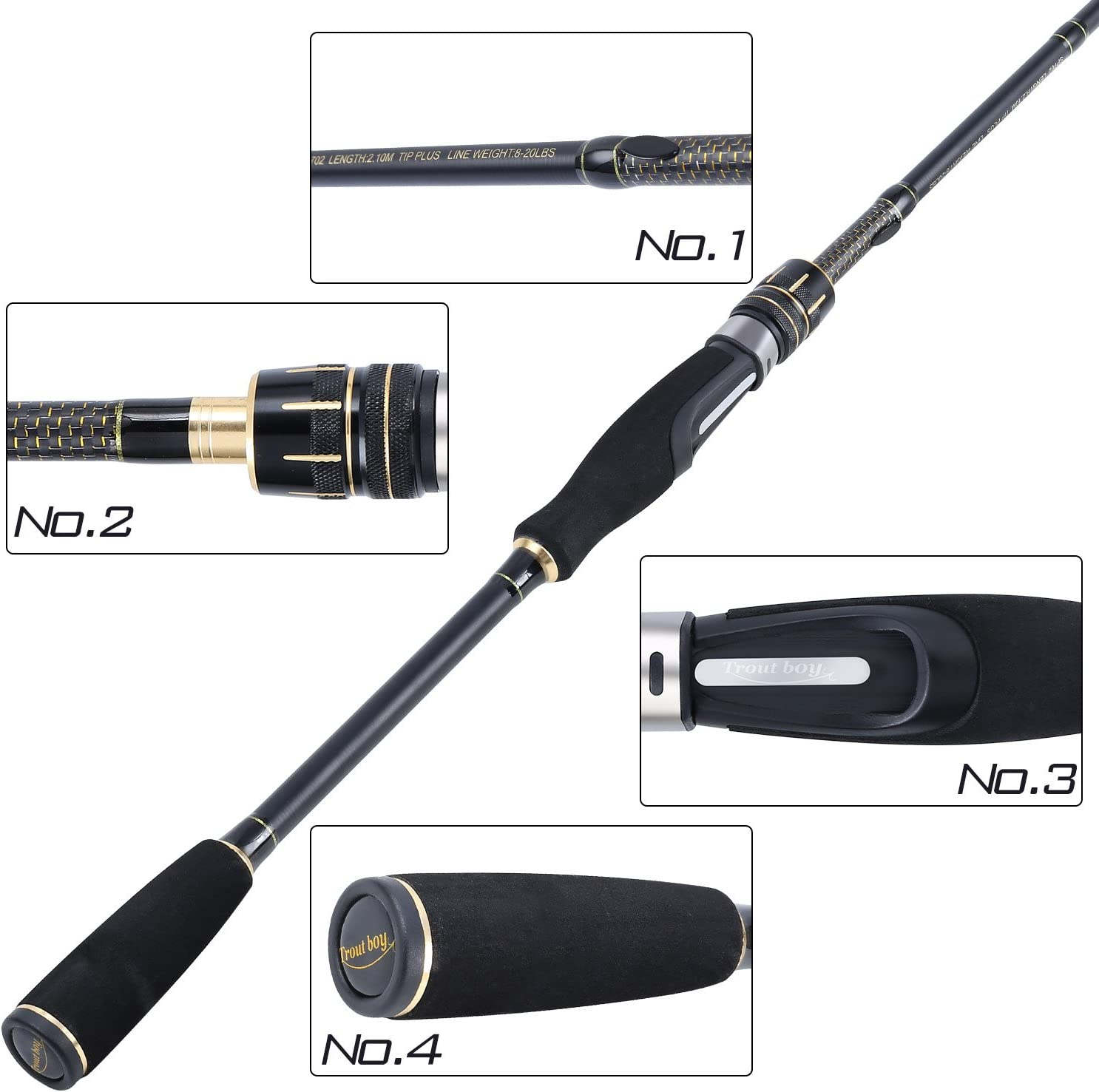 TROUTBOY Fishing Rod, 36 Ton Carbon Fiber, Fuji O ring Line Guides, EVA Fore Grip Ultra Light Fishing Pole for Casting Spinning Fishing
