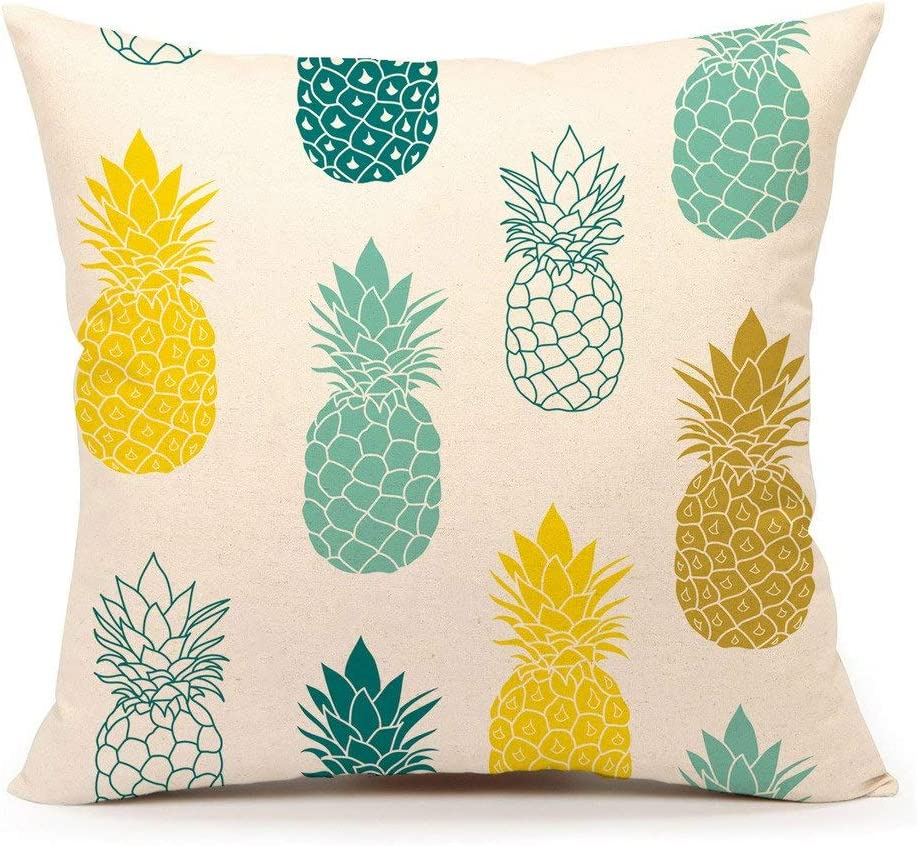 "4TH Emotion Pineapples Throw Pillow Cover Summer Beach Decor Cushion Case Decorative for Sofa Couch 18"" x 18"" Inch Cotton Linen(Blue Yellow)"