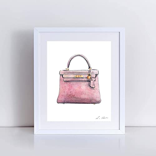 a19b320b2f0 Hermes Kelly Bag Pink Art Print Watercolor Painting Wall Home Decor Hermes  Handbag Fashion Illustration Classic Designer Vintage Preppy Pretty Canvas  Gift ...