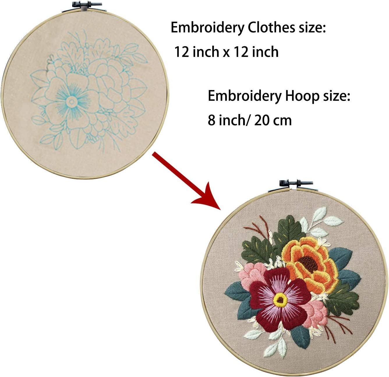 Ourart 3 Pack Embroidery Starter Kit with Pattern Color Threads Tools Bamboo Embroidery Hoop