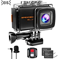 Apexcam Pro 4K 20MP WiFi Action Camera EIS Waterproof Sports Camera 40M Ultra HD Underwater Camcorders External Microphone 170°Wide-Angle 2.0''LCD 2.4G Remote 2 Rechargeable Batteries Accessories
