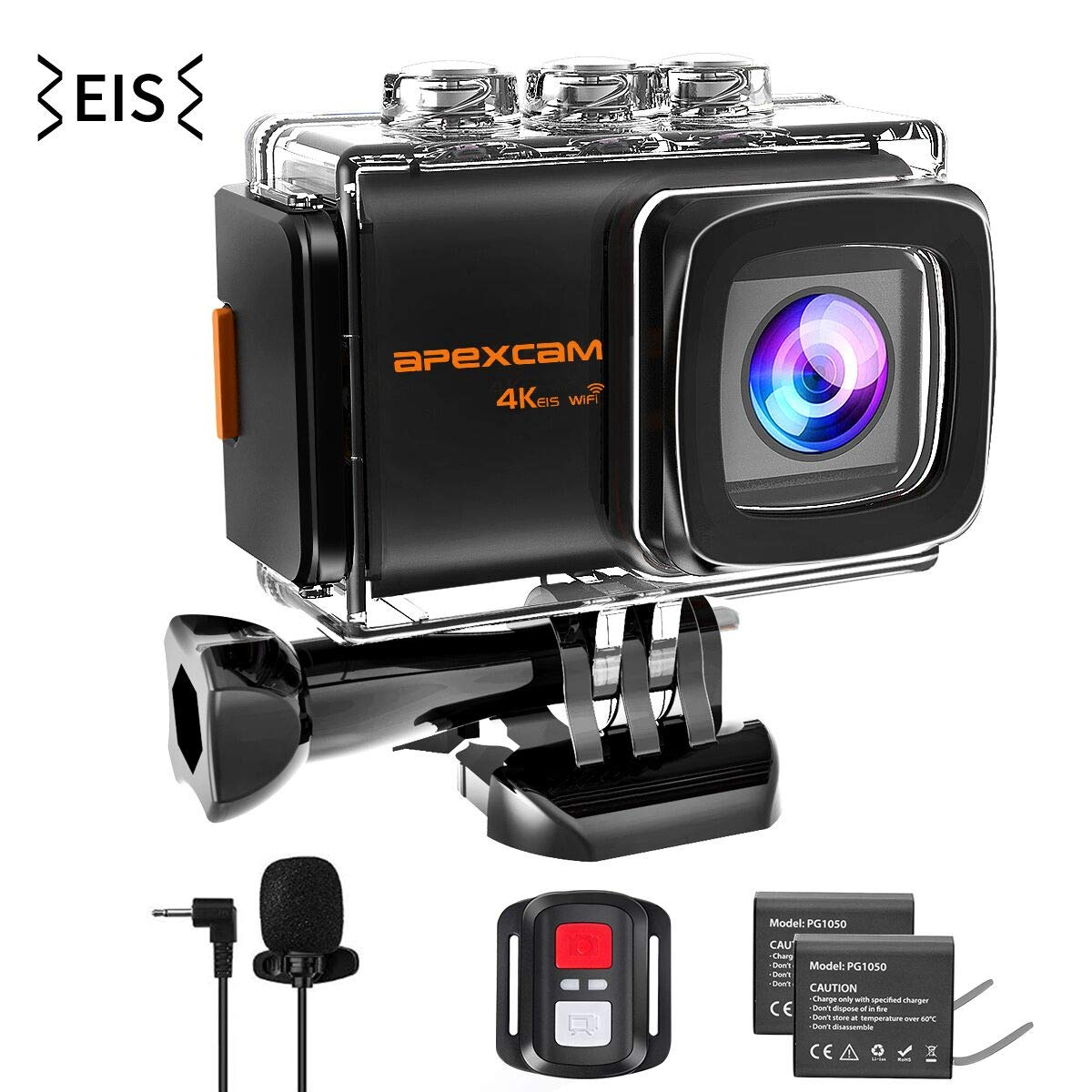 Apexcam 4K 20MP WiFi Action Camera EIS Ultra HD Sports Camera Underwater Waterproof 40M Camcorders External Mic 170°Wide-Angle 2.0''LCD 2.4G Remote 2 Rechargeable Batteries and Accessories