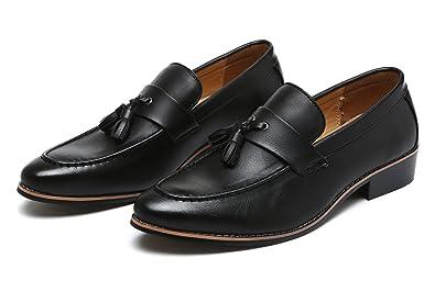 f2c81bf93c1 Santimon Dress Shoes Men Modern Tasseled Slip-on Loafers Slipper Pointed  Toe Oxfords Black 5