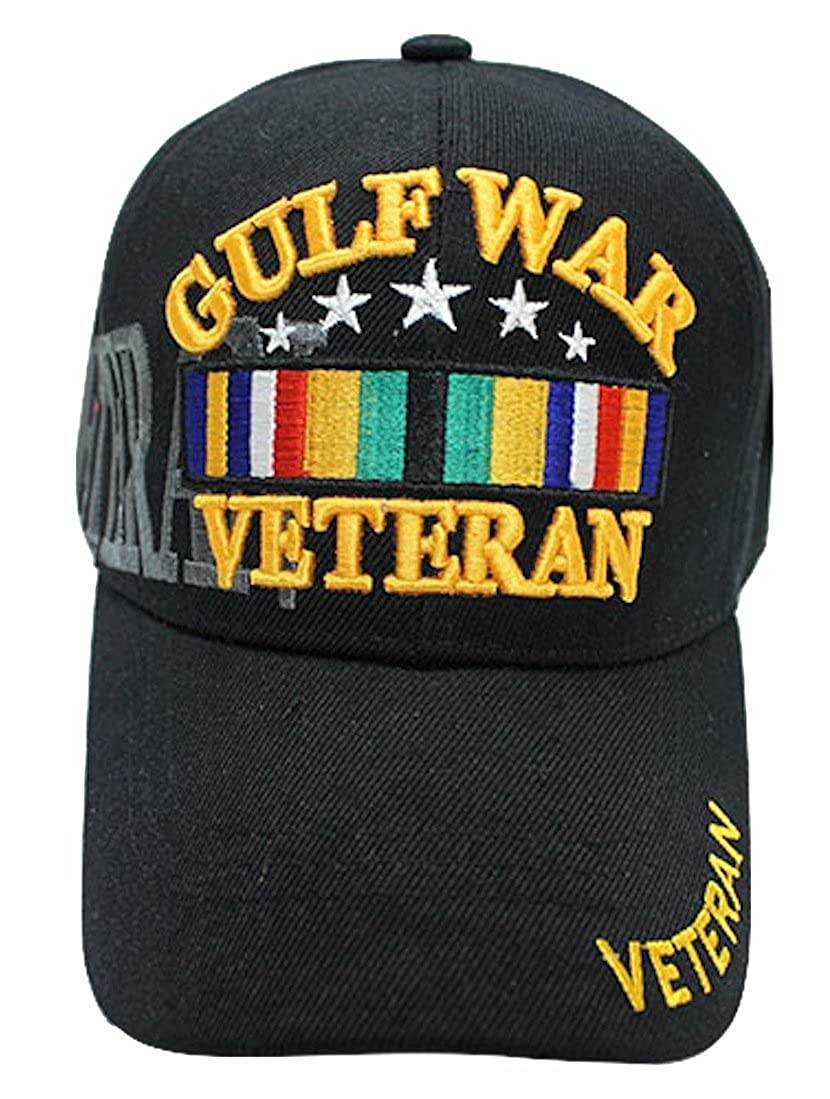 2d4ee22d217 Gulf War Veteran Baseball Cap BLACK U.S. Vet Hat Army Air Force Marines Navy