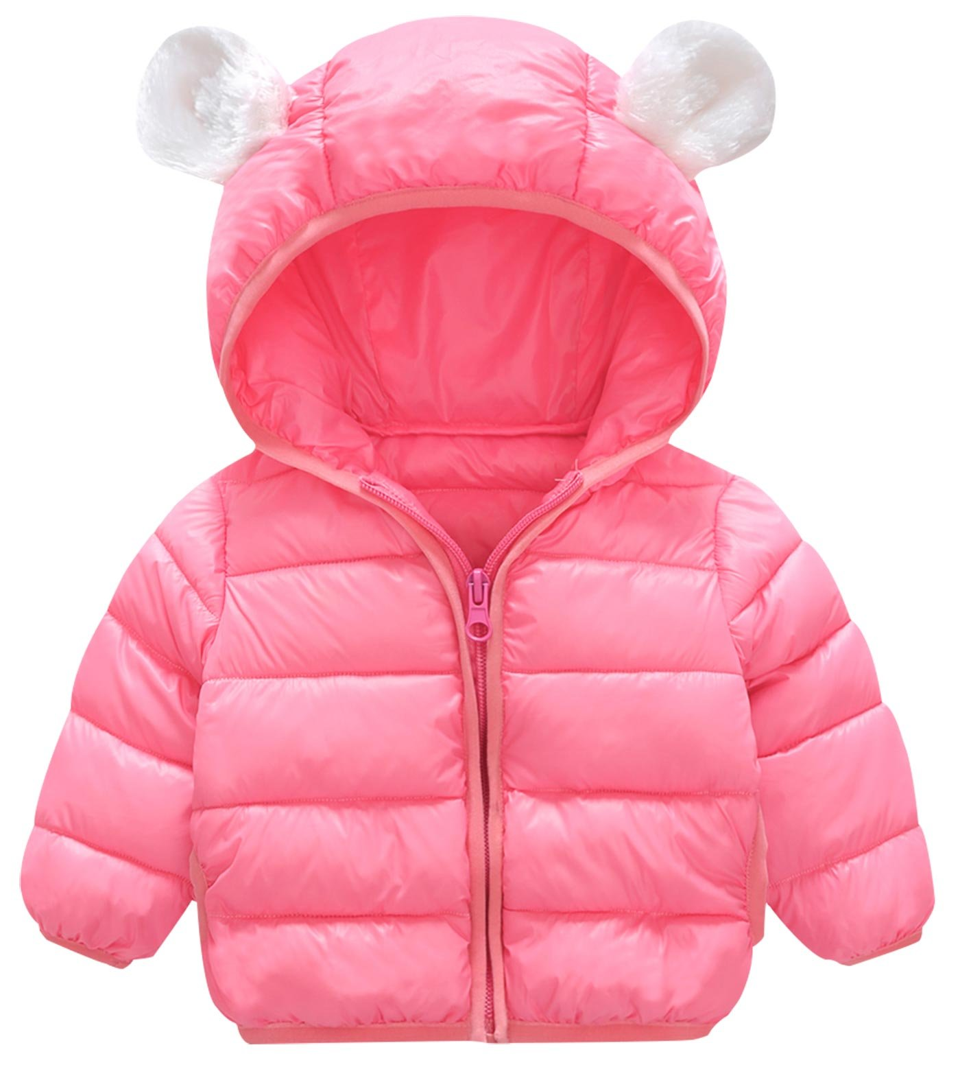 Happy Cherry Unisex Kids Lightweight Winter Puffer Coats Windproof Warm Ear Hoodie Down Cotton Jacket Pink Size 100cm by Happy Cherry
