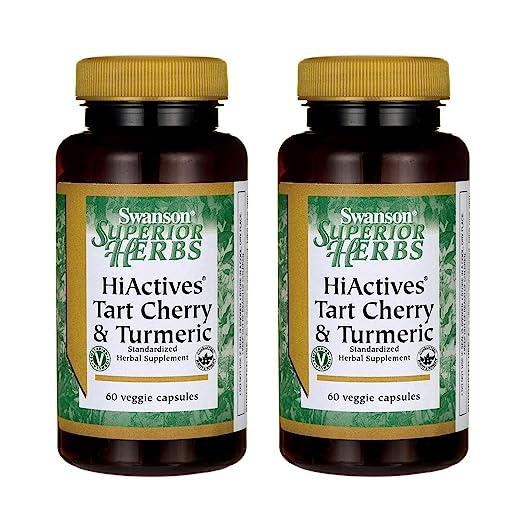 Swanson Hiactives Tart Cherry & Turmeric 60 Veg Capsules (2 Pack)