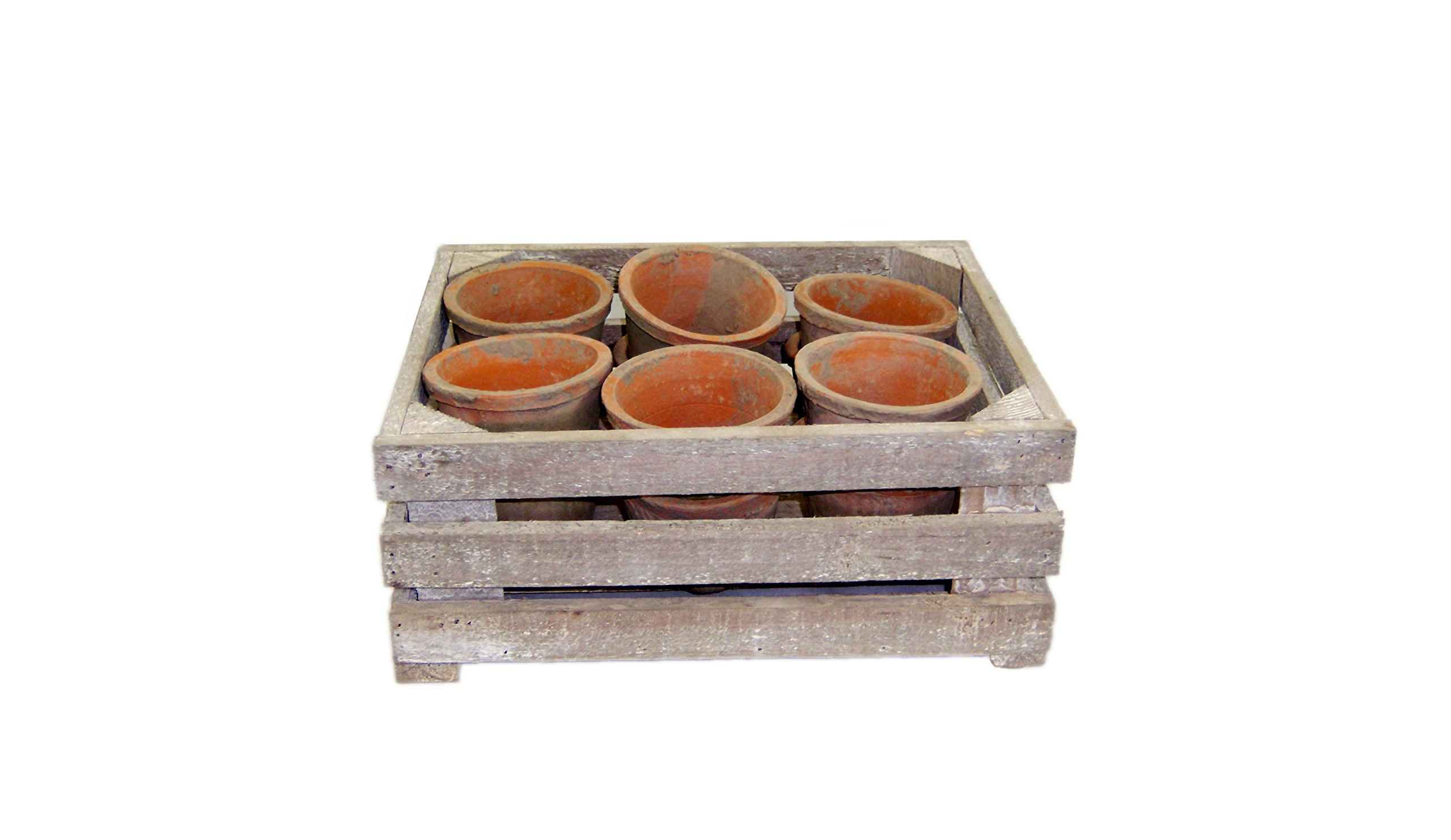 Large Antique Terracotta Pots & Large Weathered Wood Crate