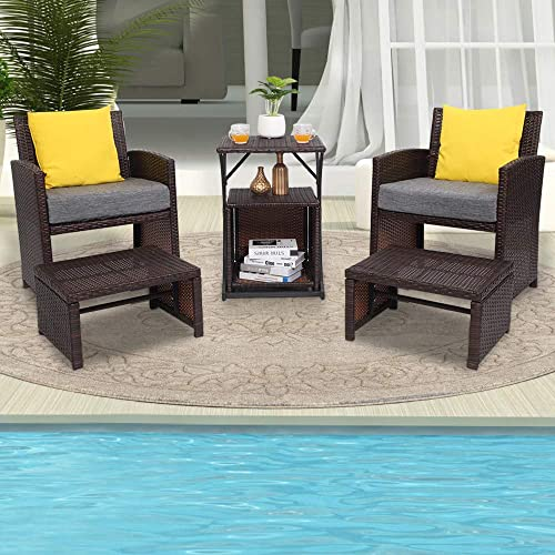 VINGLI 6PCS Wicker Patio Conversation Set Outdoor Furniture Wicker Chair