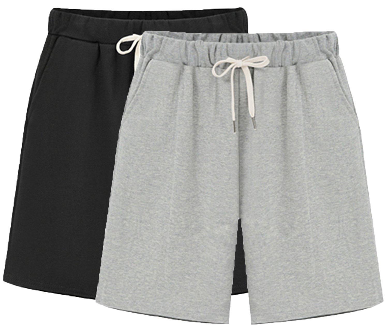 Vcansion Casual Drawstring Elastic Waist Knee-Length Bermuda Shorts Women 2 Pack(Black+Grey) US 12-14/Asian 5XL
