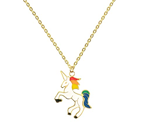 962a08d0bc594 Altitude Boutique Unicorn Necklace Magical Pendant Gift for Girls or for  Women Gold Silver Colorful Enamel