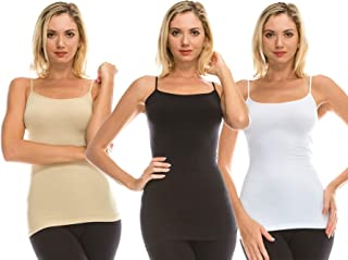 product image for Kurve Women's Camisole Tank Top - 3 Pack Stretch Spaghetti Strap Cami, UV Protective Fabric Rated UPF 50+ (Made in USA)