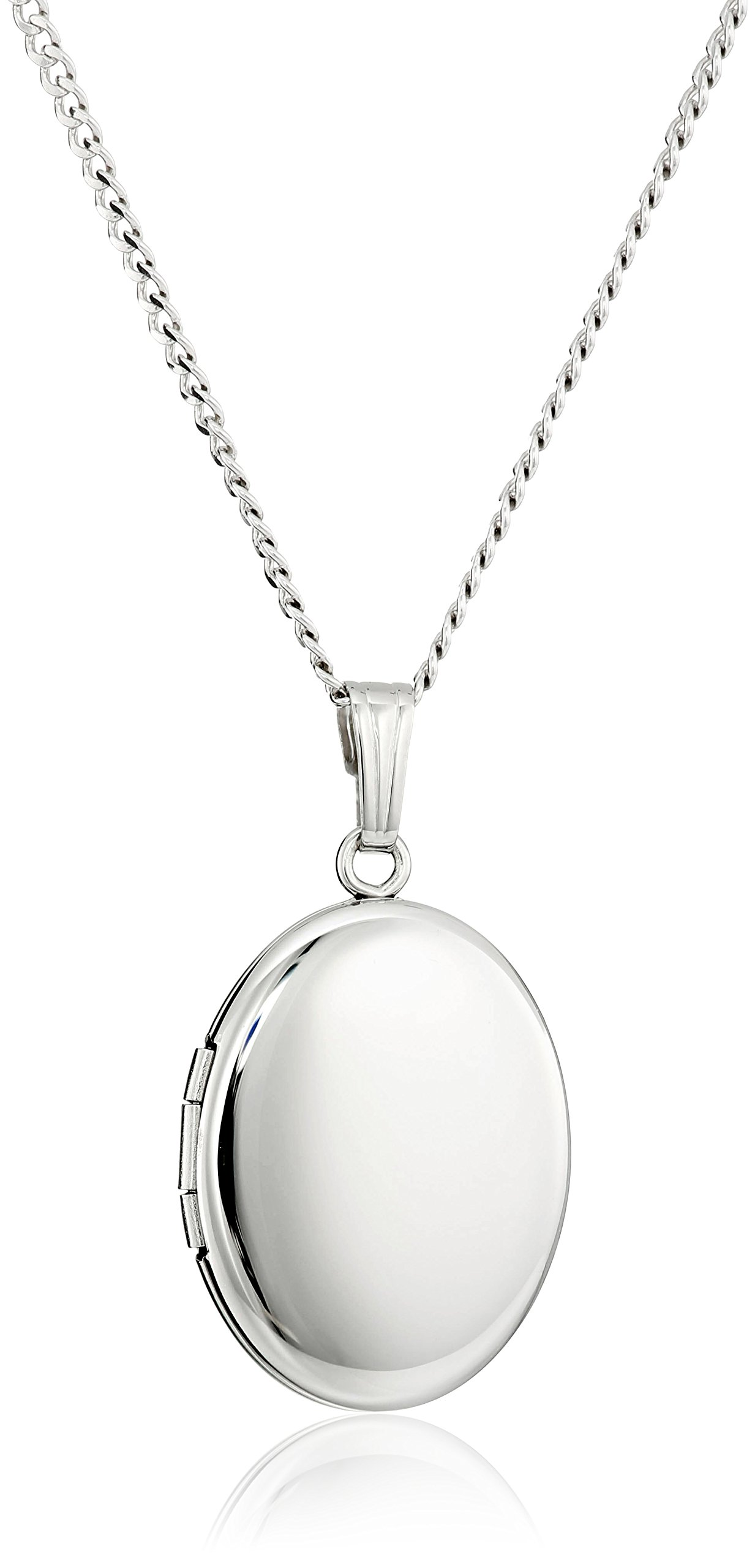 Sterling Silver Polished Oval Locket Necklace, 18'' by Amazon Collection