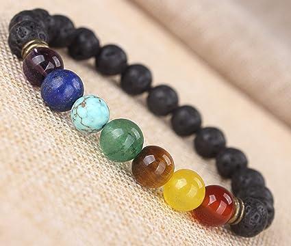 fb30fbea2c19 Amazon.com  Florance Jones 7 Chakra Healing Balance Beaded Bracelet Lava  Yoga Reiki Prayer Stones Unisex