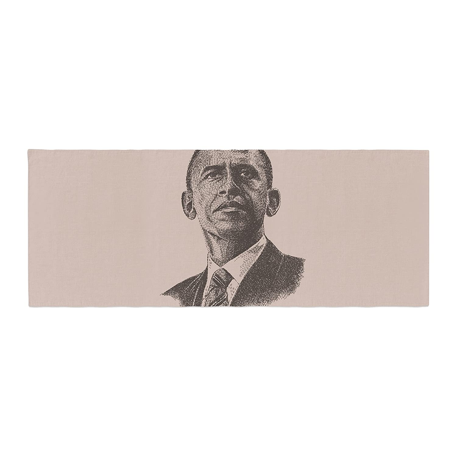 Kess InHouse BarmalisiRTB Barack Obama Brown Gold Bed Runner