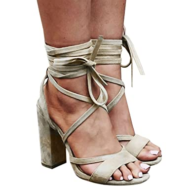 0657c1e3ba Huiyuzhi Women's Lace Up Chunky Block Heeled Sandals Ankle Strap High Heels  (10 B(