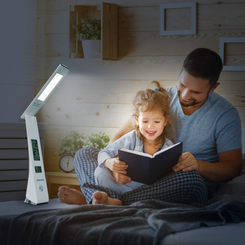 Lampada da tavolo a LED con interfaccia di ricarica USB termometro 5W Nero orologio LCD calendario pu/ò essere utilizzata per lavorare e studiare in camera da letto lampada da ufficio dimmerabile