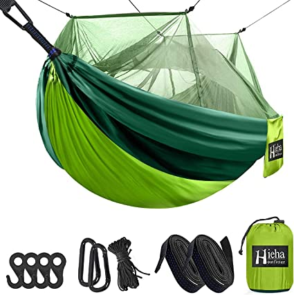 Portable Hammock with Mosquito Net 2 Person Hammock with Tree Straps for Hiking Backpacking Travel Beach Yard Ultralight Waterproof Nylon Camping Hammock Tarp Rain Fly Tent Picnic Cloth