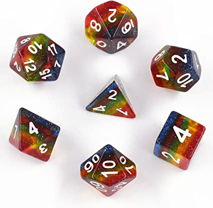 FLAHOWL Rainbow Dice Set Multicolored DND Dice Set Polyhedral Dice 7 Pieces Dungeon and Dragons Dice for Table Games Translucent Dice Set 7 Pieces