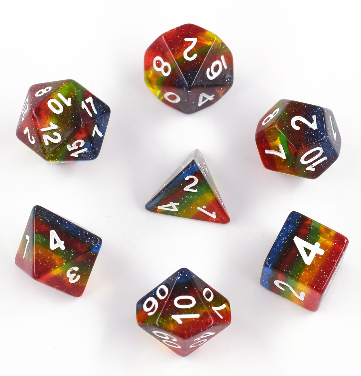 HD DICE Rainbow Glitter Dice, Polyhedral Dice Set Transparent Galaxy Dice for DND Dungeons and Dragons Pathfinde MTG RGP RolePlaying Game