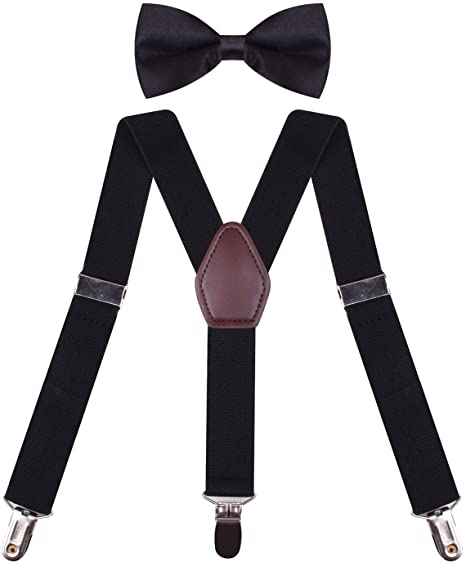 a7816c978e9 Black Braces for Trousers Thick Suspenders With Bow Tie Fashion Suspender