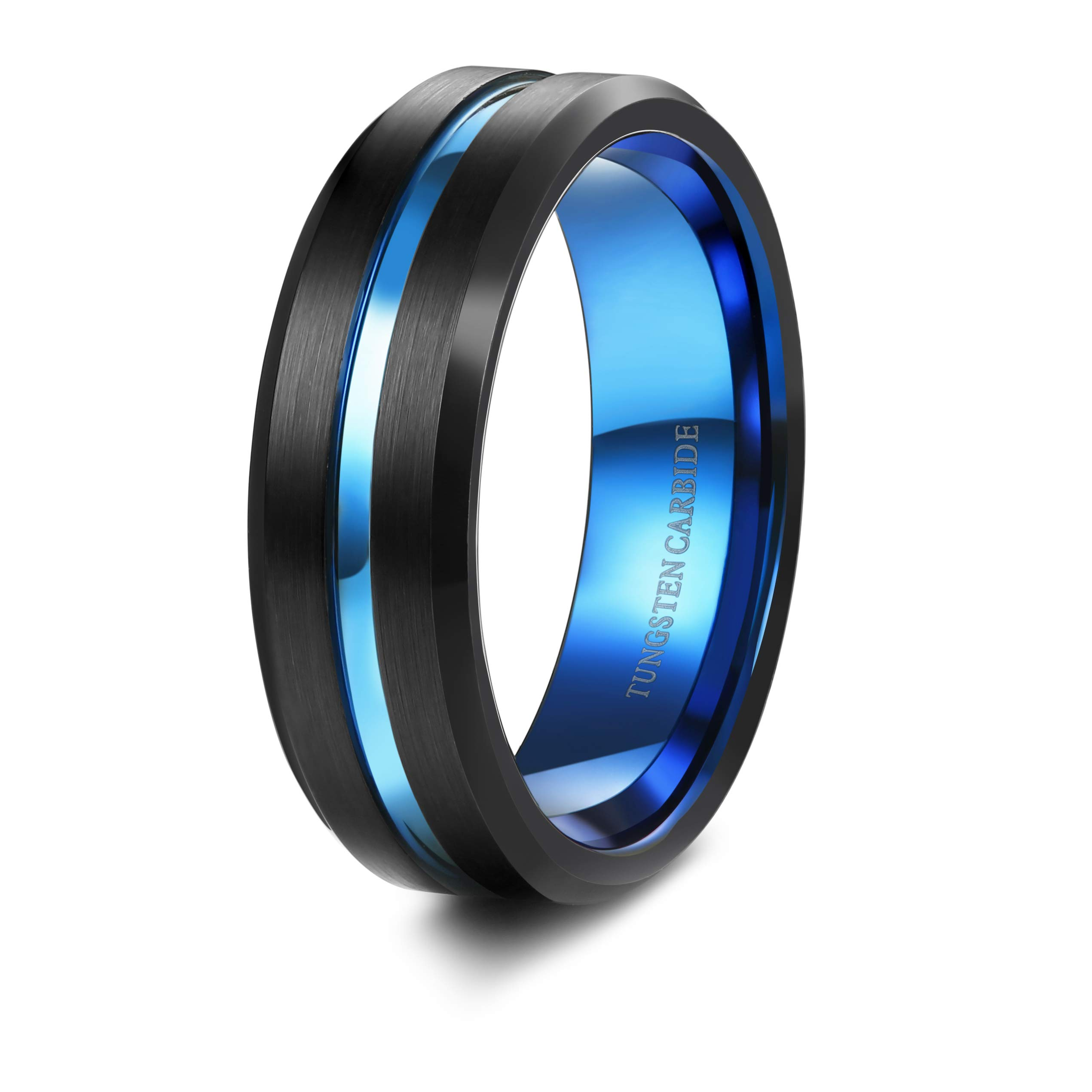 Tungary 7mm Mens Black Matte Finish Tungsten Carbide Rings Blue Groove Wedding Band Engraved Size 8