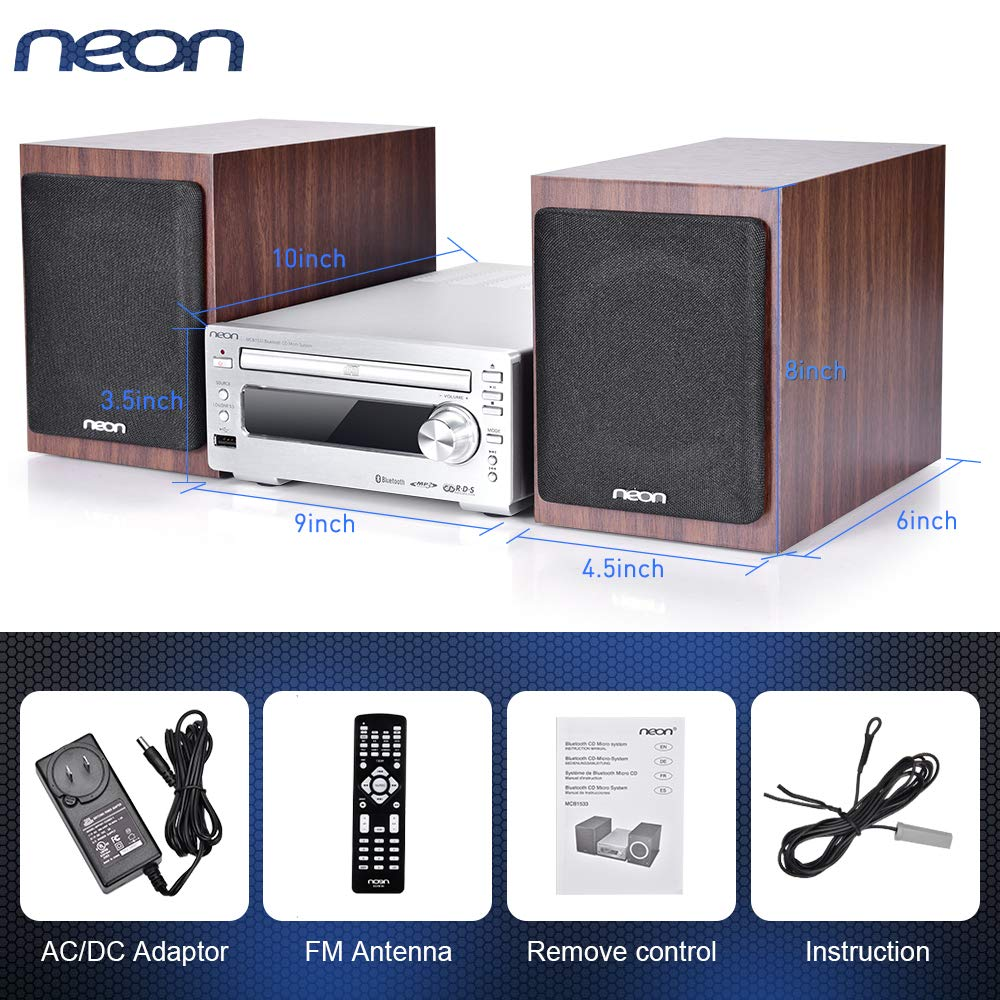Bluetooth Stereo System - Music Streaming System w/ CD Players, FM Radio, MP3, SD Slot, USB, Remote Control, AUX, Headphone Jack, HiFi Digital Audio System Perfect for Home Cinema, MCB1533 by Neon (Image #7)