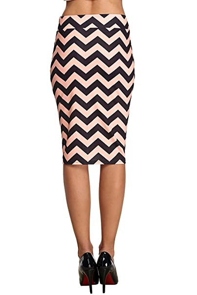 e71b468d01 ACEVOG Women's Elastic Waist Band Office Wear to Casual Knee Length Pencil  Skirt at Amazon Women's Clothing store: