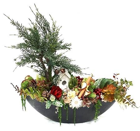 Centro de mesa navidad . Plantas artificiales . Decoración ...