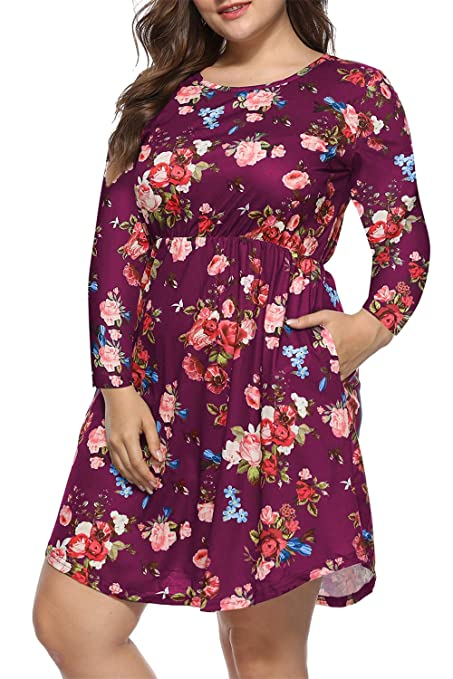 Women's Plus Size Floral Print Pleated Long Sleeve Casual Swing Dresses with Pockets