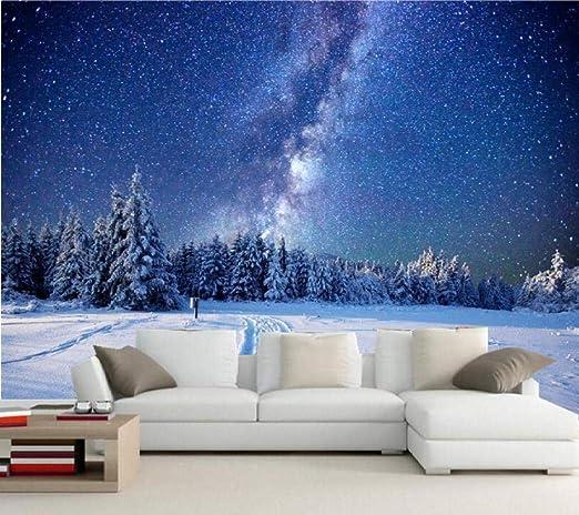 Gbhl 3d Muralwinter Forests Sky Stars Snow Fir Night Nature
