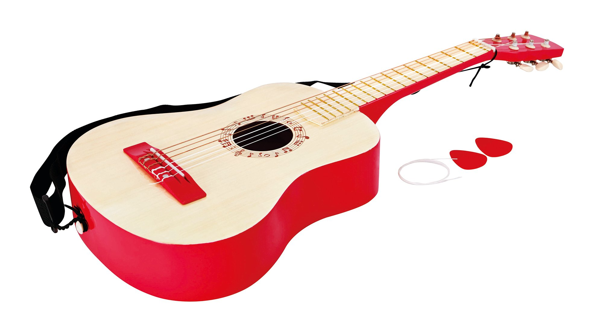 Hape Vibrant Guitar Kid's Toddler Wooden Musical Instrument in Red by Hape