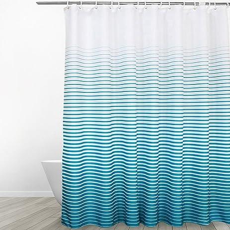 Eforgift Heavy Duty Fabric Shower Curtain Mildew Free Stripe Print For Men Women Home Hotel