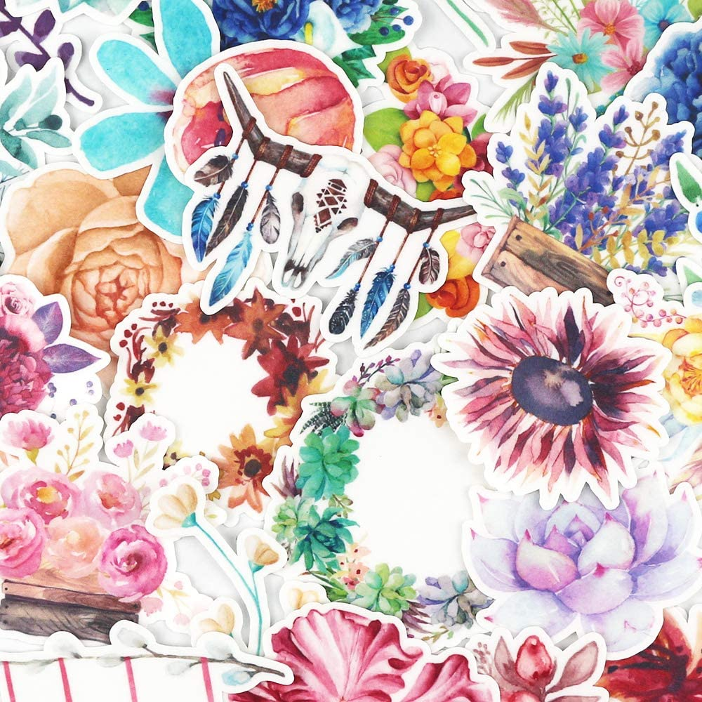 Pretty Nature Watercolor Floral Stickers and Artsy Waterproof Decals for Your Laptops, Water Bottles, Bullet Journals, Card Making, Journals, Planners, Scrapbook, DIY Arts and Crafts (65 Pieces)