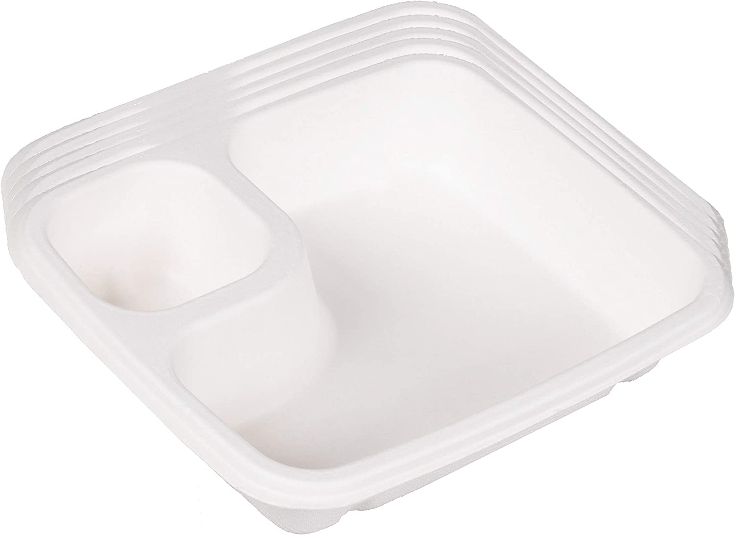 Outside the Box Papers Compostable Paper 2 Compartment Disposable Nacho Food Trays - Sugarcane Bagasse - Biodegradable and Compostable - 18 Pack