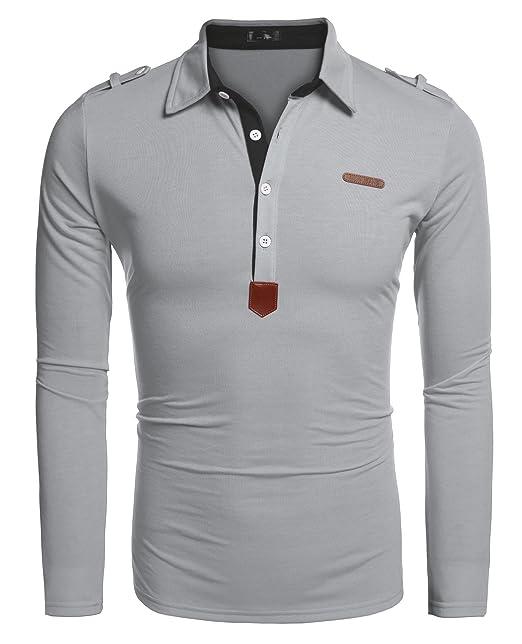 Coofandy Polos Manga Larga Hombre Casual Cuello Clásico Slim Fit ...