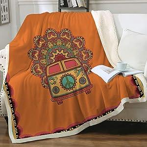 "Sleepwish Retro Bus Peace Sign Blankets Throws Old Fashion Turquoise and Orange Throw Blanket Peace Van Hippie Bus Sherpa Fleece Reversible Blanket (50""x 60"")"