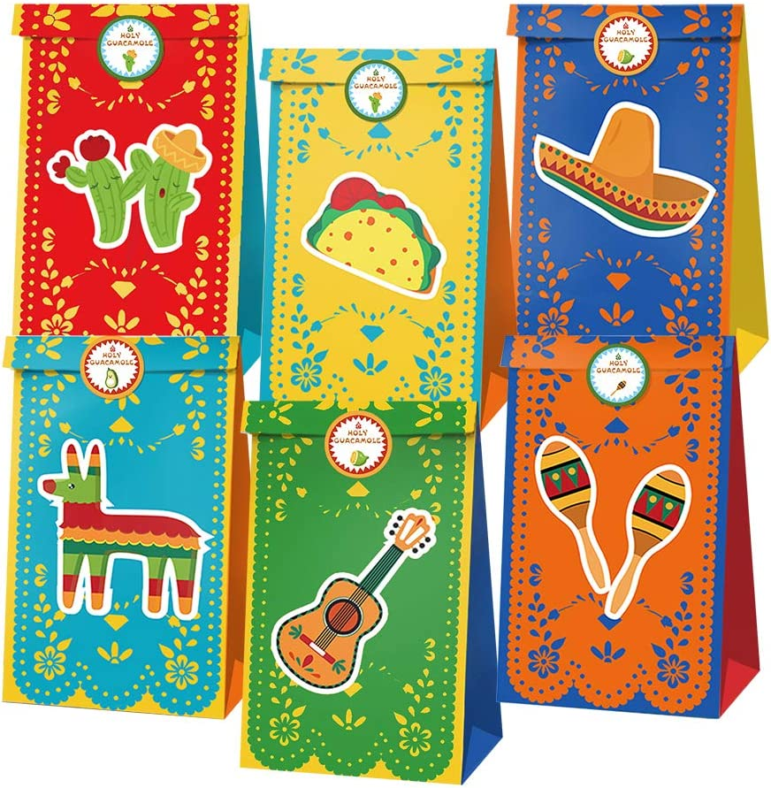 Mexico Fiesta Party Favor Bags Fiesta Cinco De Mayo Goodie Candy Treat Bags Mexico Cactus Themed Supplies and Maracas Pattern Culture Custom Mexican Carnival Fiesta Decorations Favor Boxes 12 Pack