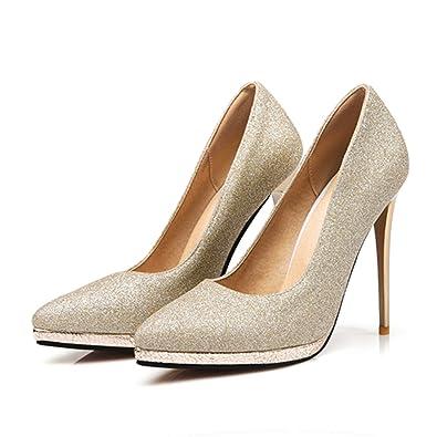 aa034a25f Amazon.com | Habitaen High Heels Women Pumps Fashion Gold Silver Wedding Shoes  Woman Office Dress Pumps | Pumps